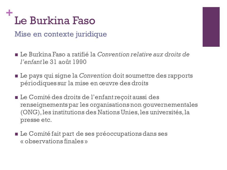 + Le Burkina Faso Le Burkina Faso a ratifié la Convention relative aux droits de l'enfant le 31 août 1990 Le pays qui signe la Convention doit soumettre des rapports périodiques sur la mise en œuvre des droits Le Comité des droits de l'enfant reçoit aussi des renseignements par les organisations non gouvernementales (ONG), les institutions des Nations Unies, les universités, la presse etc.