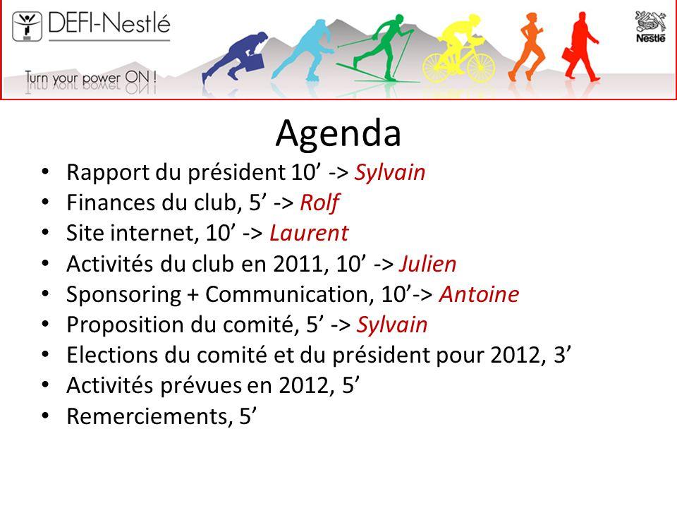 Agenda Rapport du président 10' -> Sylvain Finances du club, 5' -> Rolf Site internet, 10' -> Laurent Activités du club en 2011, 10' -> Julien Sponsor