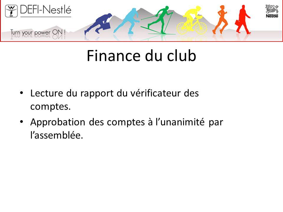 Finance du club Lecture du rapport du vérificateur des comptes. Approbation des comptes à l'unanimité par l'assemblée.