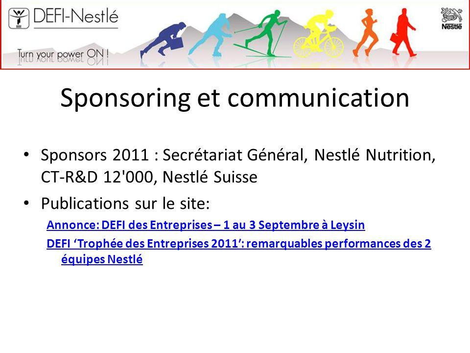 Sponsoring et communication Sponsors 2011 : Secrétariat Général, Nestlé Nutrition, CT-R&D 12 000, Nestlé Suisse Publications sur le site: Annonce: DEFI des Entreprises – 1 au 3 Septembre à Leysin DEFI 'Trophée des Entreprises 2011′: remarquables performances des 2 équipes Nestlé