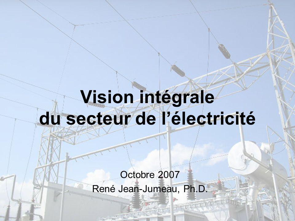 Vision intégrale du secteur de l'électricité Octobre 2007 René Jean-Jumeau, Ph.D.
