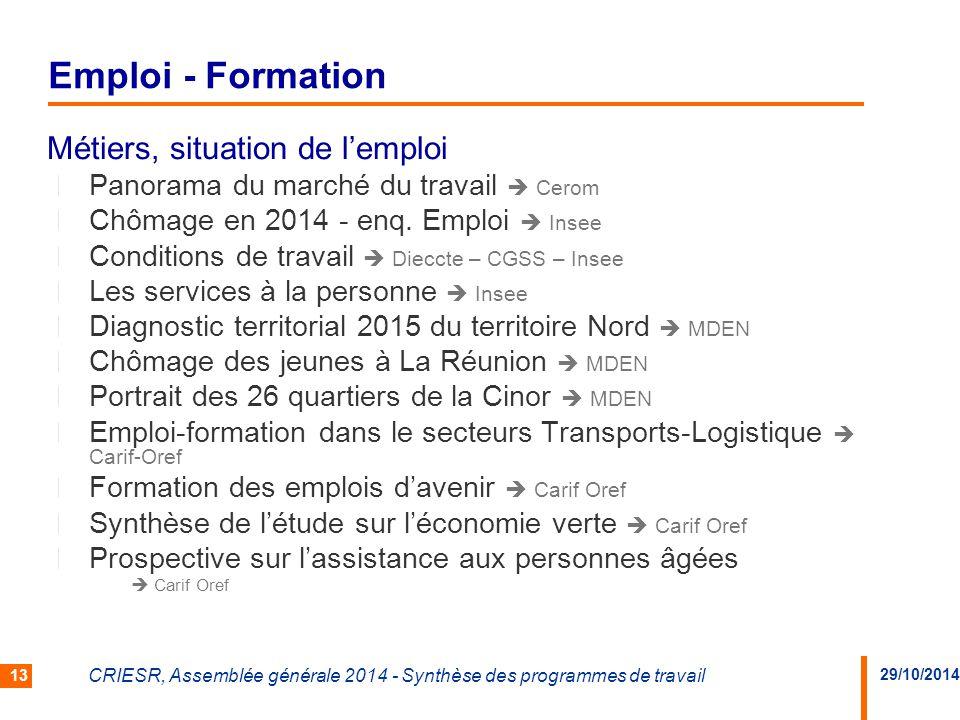 29/10/2014 CRIESR, Assemblée générale 2014 - Synthèse des programmes de travail 13 Métiers, situation de l'emploi Panorama du marché du travail  Cerom Chômage en 2014 - enq.