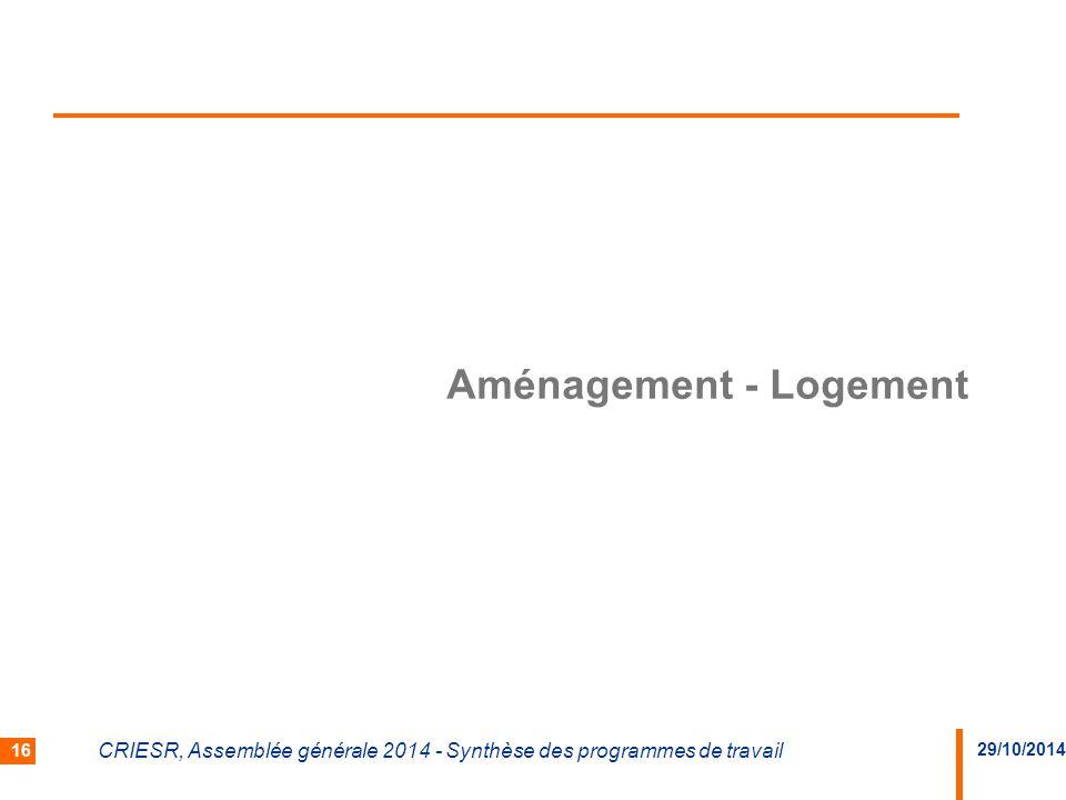 29/10/2014 CRIESR, Assemblée générale 2014 - Synthèse des programmes de travail 16 Aménagement - Logement