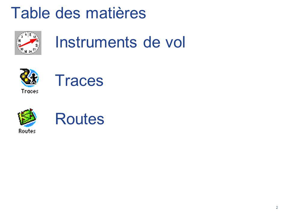 2 Table des matières Instruments de vol Traces Routes