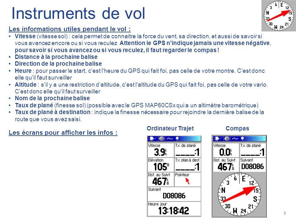 3 Les informations utiles pendant le vol : Vitesse (vitesse sol) : cela permet de connaitre la force du vent, sa direction, et aussi de savoir si vous