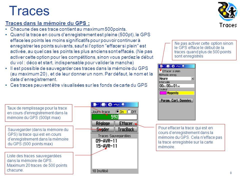 8 Traces dans la mémoire du GPS : Chacune des ces trace contient au maximum 500points. Quand la trace en cours d'enregistrement est pleine (500pt), le