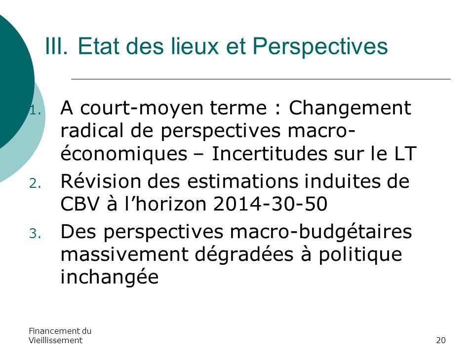 Financement du Vieillissement20 III. Etat des lieux et Perspectives 1. A court-moyen terme : Changement radical de perspectives macro- économiques – I