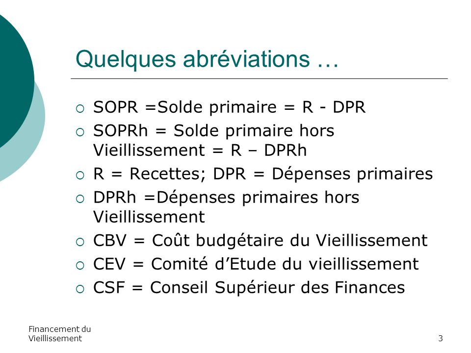 Financement du Vieillissement3 Quelques abréviations …  SOPR =Solde primaire = R - DPR  SOPRh = Solde primaire hors Vieillissement = R – DPRh  R =