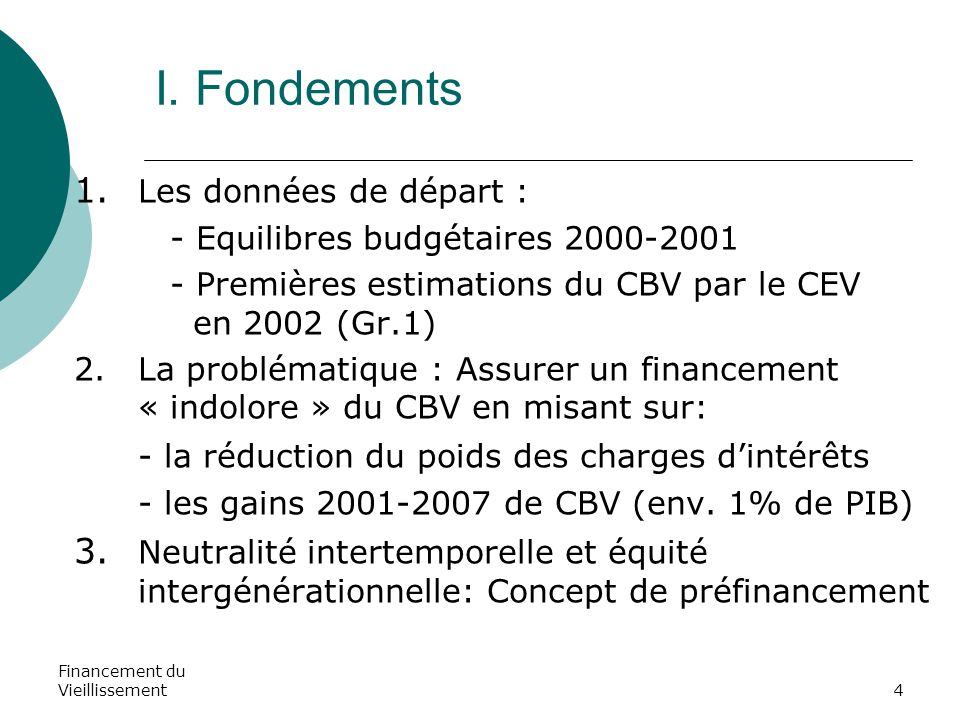 Financement du Vieillissement4 I. Fondements 1. Les données de départ : - Equilibres budgétaires 2000-2001 - Premières estimations du CBV par le CEV e