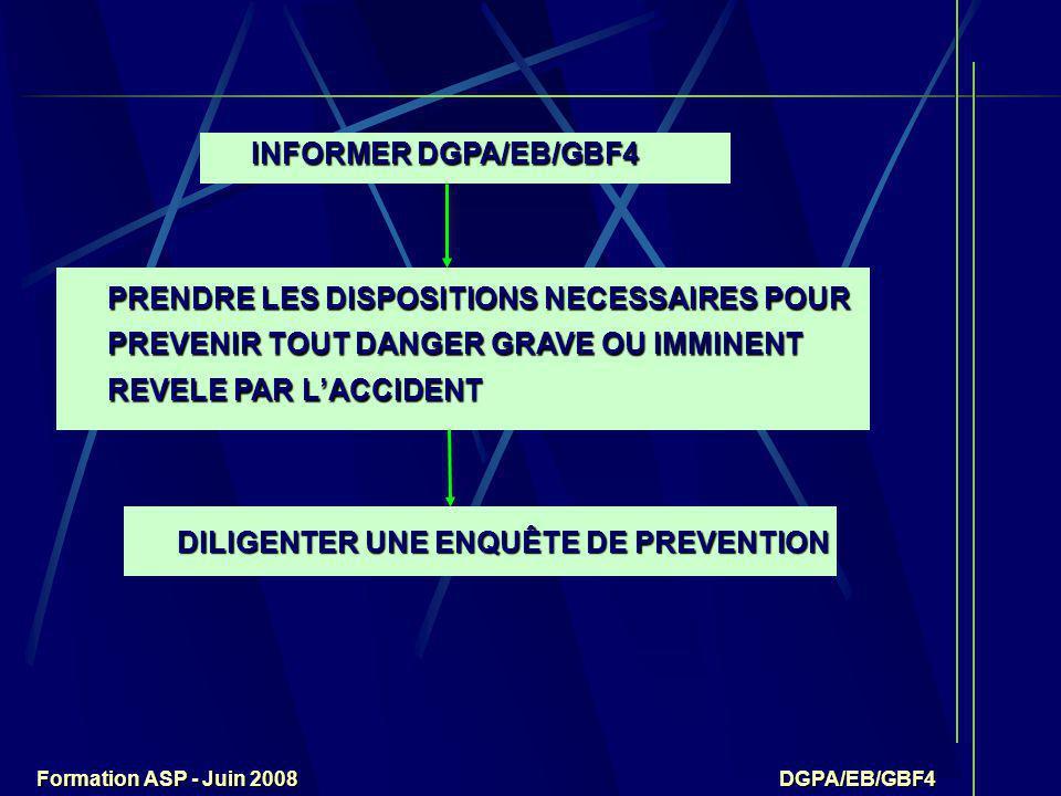 Formation ASP - Juin 2008 DGPA/EB/GBF4 DGPA/EB/GBF4 DGPA/EB/GBF4 INFORMER DGPA/EB/GBF4 PRENDRE LES DISPOSITIONS NECESSAIRES POUR PREVENIR TOUT DANGER GRAVE OU IMMINENT REVELE PAR L'ACCIDENT DILIGENTER UNE ENQUÊTE DE PREVENTION