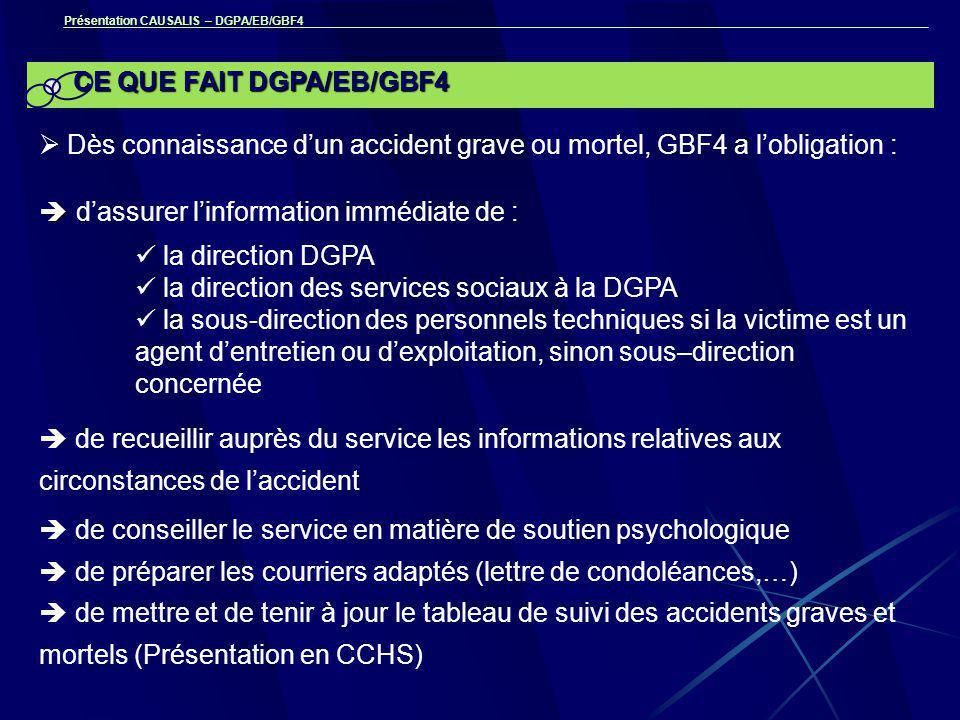 Présentation CAUSALIS – DGPA/EB/GBF4 CE QUE FAIT DGPA/EB/GBF4  Dès connaissance d'un accident grave ou mortel, GBF4 a l'obligation :   d'assurer l'information immédiate de : la direction DGPA la direction des services sociaux à la DGPA la sous-direction des personnels techniques si la victime est un agent d'entretien ou d'exploitation, sinon sous–direction concernée  de recueillir auprès du service les informations relatives aux circonstances de l'accident  de conseiller le service en matière de soutien psychologique  de préparer les courriers adaptés (lettre de condoléances,…)  de mettre et de tenir à jour le tableau de suivi des accidents graves et mortels (Présentation en CCHS)