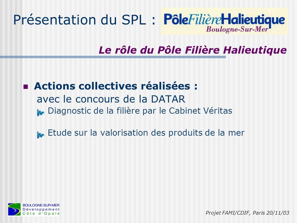Présentation du SPL : 1999 : Fusion de deux anciennes structures : Le Pôle de recherche et développement et de formation en agro-halio industrie et le Pôle halieutique.