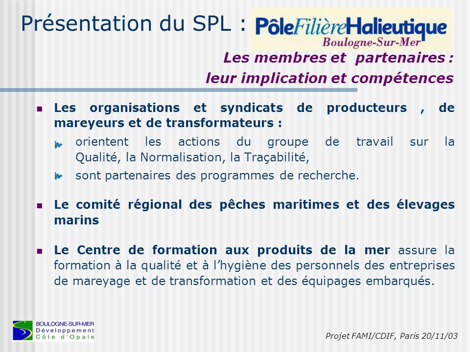 Présentation du SPL : La cellule d'animation du SPL Projet FAMI/CDIF, Paris 20/11/03 3 personnes au sein du Pôle Filière Halieutique : 2 ingénieurs, 1 contrôleur qualité, le Secrétaire Général du Pôle, par ailleurs Directeur du From Nord, non rémunéré par le Pôle, 1 personne de Boulogne-sur-Mer Développement Côte d'Opale (agence de développement économique) non rémunérée par le Pôle mais dont l'action est inscrite dans le programme de travail de l'agence.