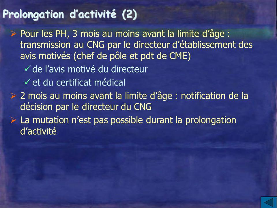 Prolongation d'activité (1) A partir de 65 ans ou à la suite d'un recul de la limite d'âge  Concerne les PH, les praticiens contractuels, les assista