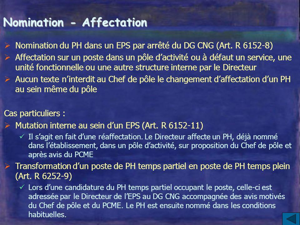 Nomination - Affectation  Nomination du PH dans un EPS par arrêté du DG CNG (Art.