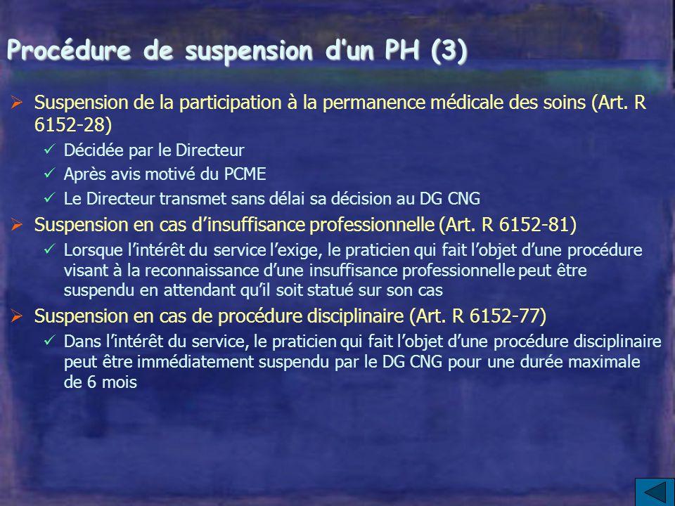 Procédure de suspension d'un PH (2) La décision de suspension d'un PH prise par le Directeur du CH est temporaire, à titre conservatoire et non discip
