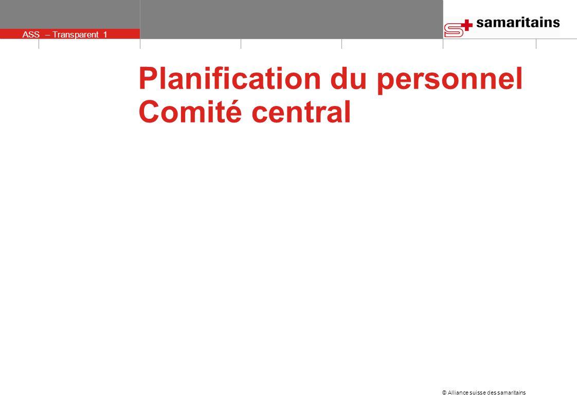 © Alliance suisse des samaritains ASS – Transparent 12 Autres critères de choix Groupes d'âge: Souhaitable: au moins une personne plus jeune que 40 ans Sans cela, pas de préférences