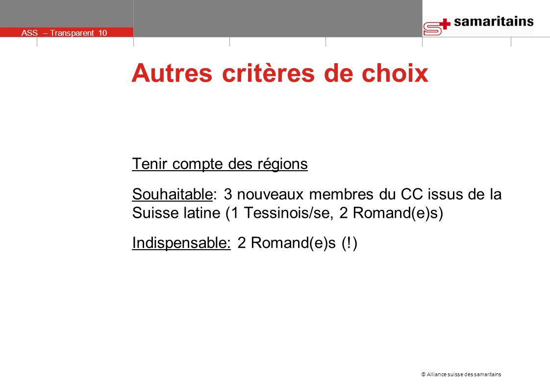 © Alliance suisse des samaritains ASS – Transparent 10 Autres critères de choix Tenir compte des régions Souhaitable: 3 nouveaux membres du CC issus de la Suisse latine (1 Tessinois/se, 2 Romand(e)s) Indispensable: 2 Romand(e)s (!)