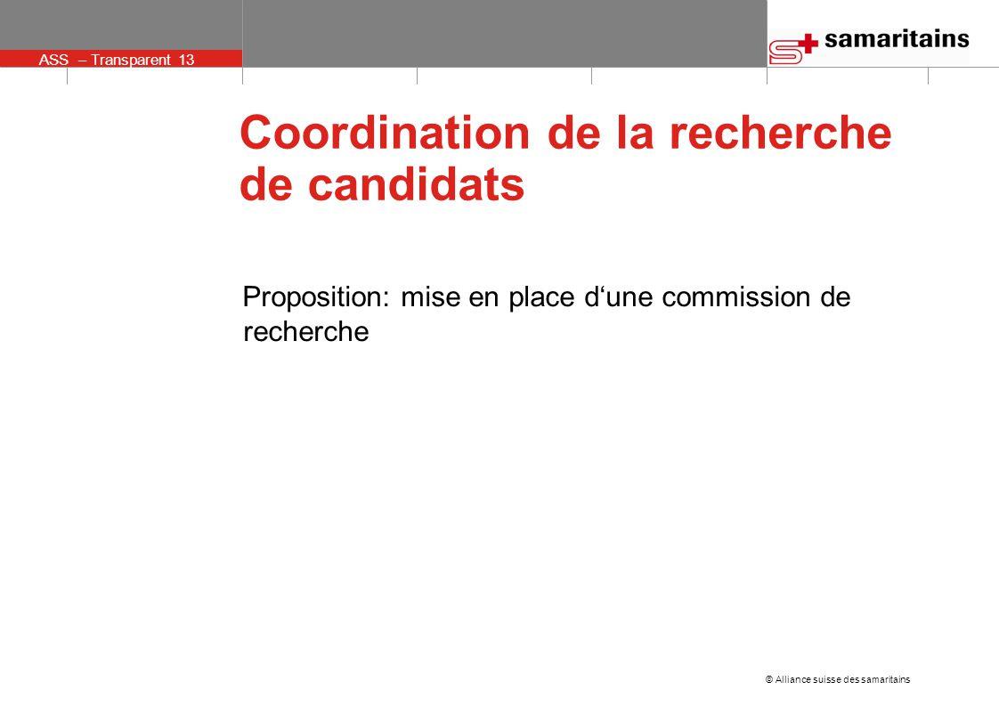 © Alliance suisse des samaritains ASS – Transparent 13 Coordination de la recherche de candidats Proposition: mise en place d'une commission de recherche