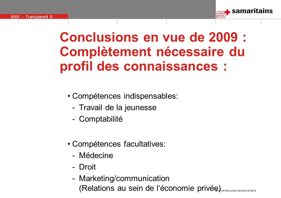 © Alliance suisse des samaritains ASS – Transparent 6 Conclusions en vue de 2009 : Complètement nécessaire du profil des connaissances : Compétences indispensables: -Travail de la jeunesse -Comptabilité Compétences facultatives: -Médecine -Droit -Marketing/communication (Relations au sein de l'économie privée)