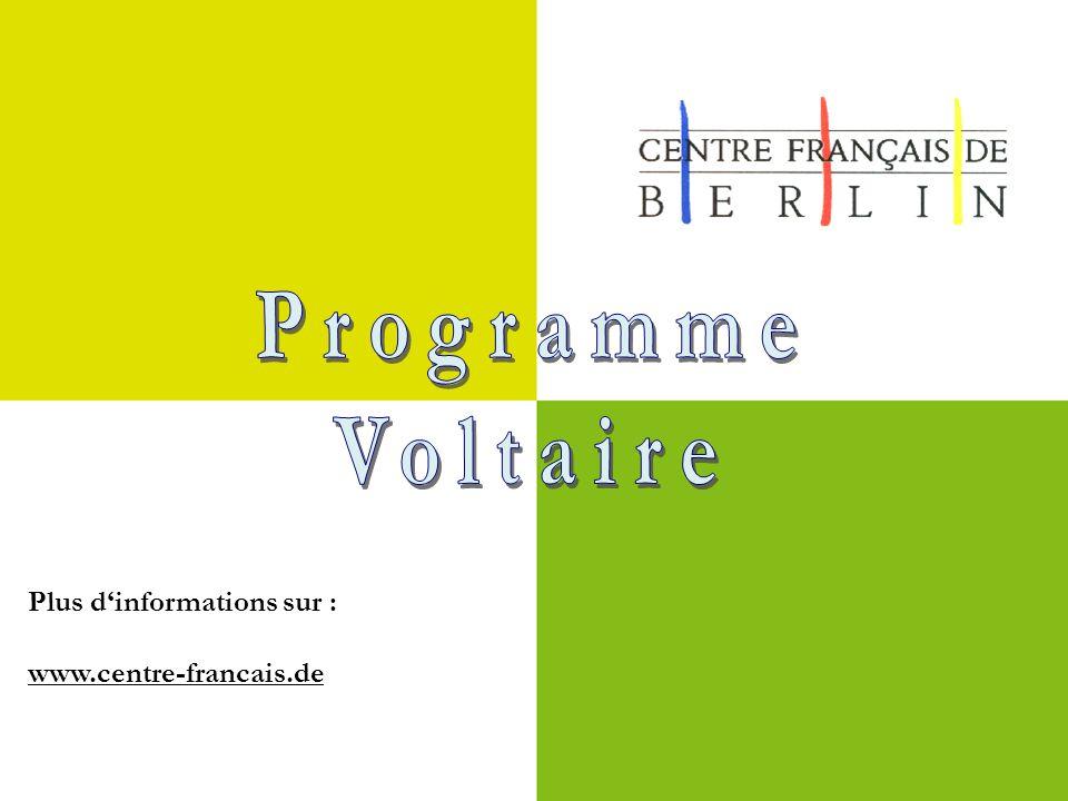 Plus d'informations sur : www.centre-francais.de