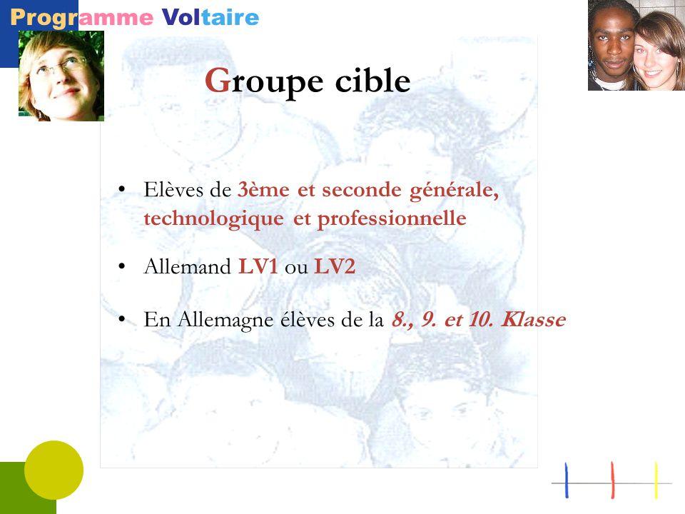 Programme Voltaire Elèves de 3ème et seconde générale, technologique et professionnelle Allemand LV1 ou LV2 En Allemagne élèves de la 8., 9. et 10. Kl