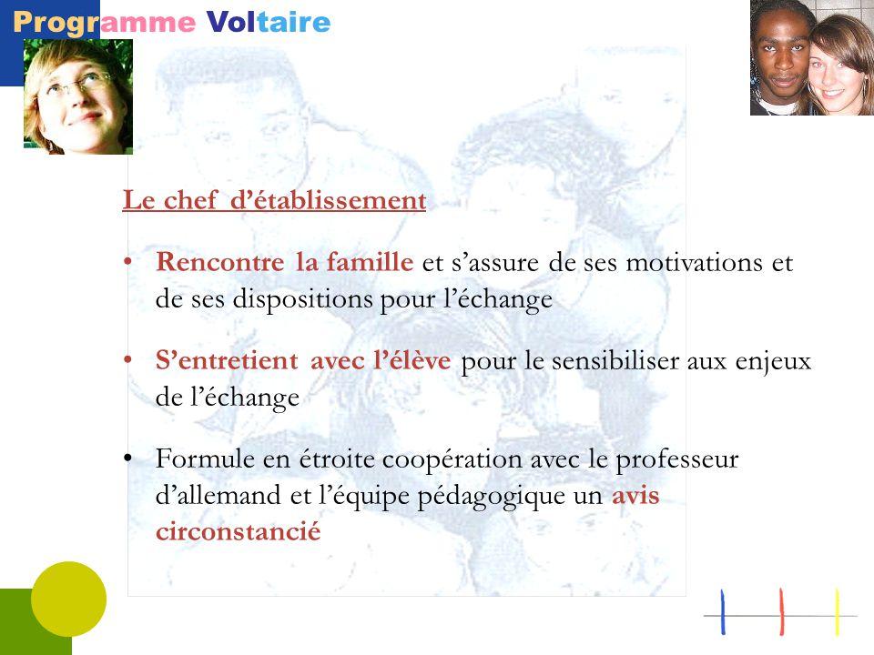 Programme Voltaire Le chef d'établissement Rencontre la famille et s'assure de ses motivations et de ses dispositions pour l'échange S'entretient avec l'élève pour le sensibiliser aux enjeux de l'échange Formule en étroite coopération avec le professeur d'allemand et l'équipe pédagogique un avis circonstancié