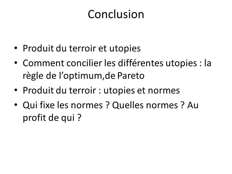 Conclusion Produit du terroir et utopies Comment concilier les différentes utopies : la règle de l'optimum,de Pareto Produit du terroir : utopies et n