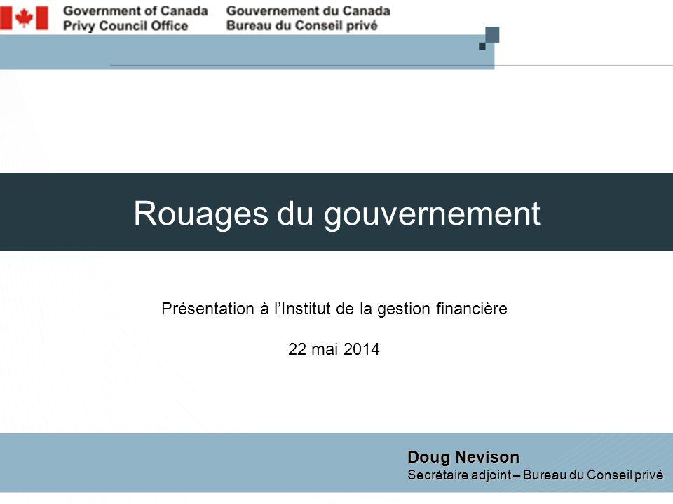 Rouages du gouvernement Présentation à l'Institut de la gestion financière 22 mai 2014 Doug Nevison Secrétaire adjoint – Bureau du Conseil privé