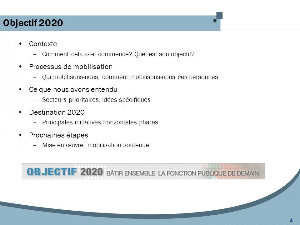 Objectif 2020 4 Contexte –Comment cela a-t-il commencé? Quel est son objectif? Processus de mobilisation –Qui mobilisons-nous, comment mobilisons-nous