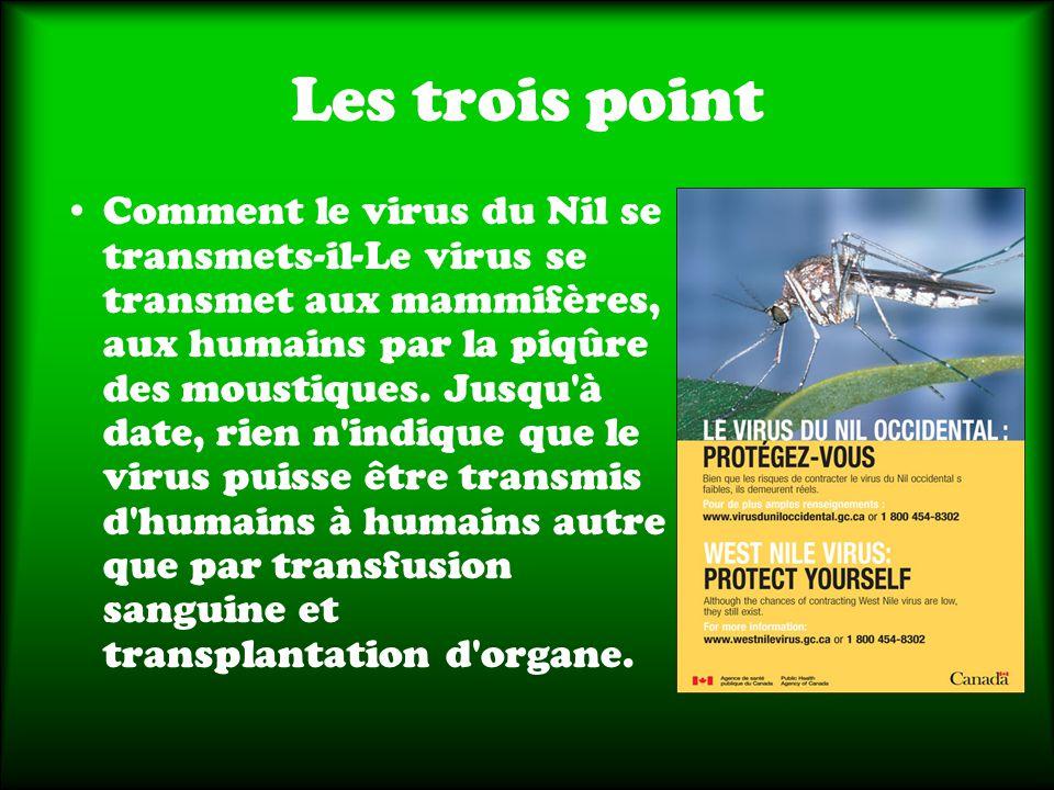 Les trois point Comment le virus du Nil se transmets-il-Le virus se transmet aux mammifères, aux humains par la piqûre des moustiques.