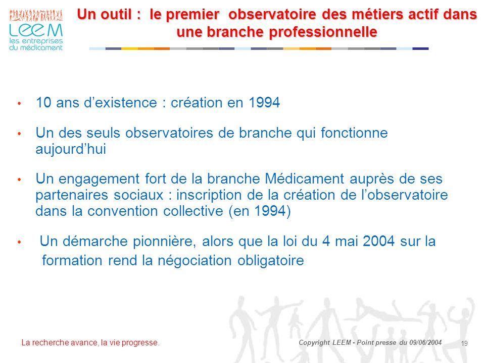 La recherche avance, la vie progresse. 19 Copyright LEEM - Point presse du 09/06/2004 10 ans d'existence : création en 1994 Un des seuls observatoires