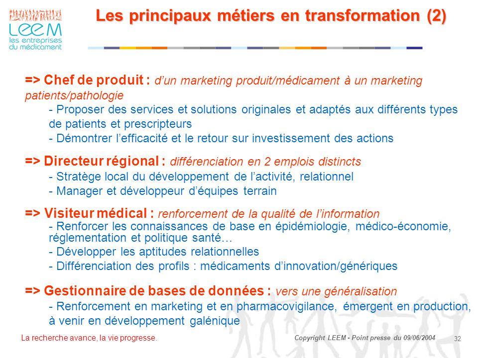 La recherche avance, la vie progresse. 32 Copyright LEEM - Point presse du 09/06/2004 Les principaux métiers en transformation (2) => Chef de produit