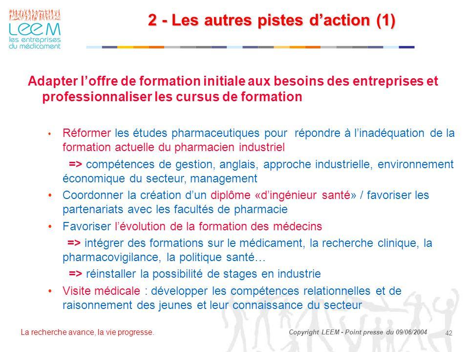 La recherche avance, la vie progresse. 42 Copyright LEEM - Point presse du 09/06/2004 Adapter l'offre de formation initiale aux besoins des entreprise