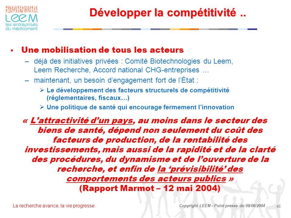 La recherche avance, la vie progresse. 46 Copyright LEEM - Point presse du 09/06/2004 Développer la compétitivité.. Développer la compétitivité.. Une
