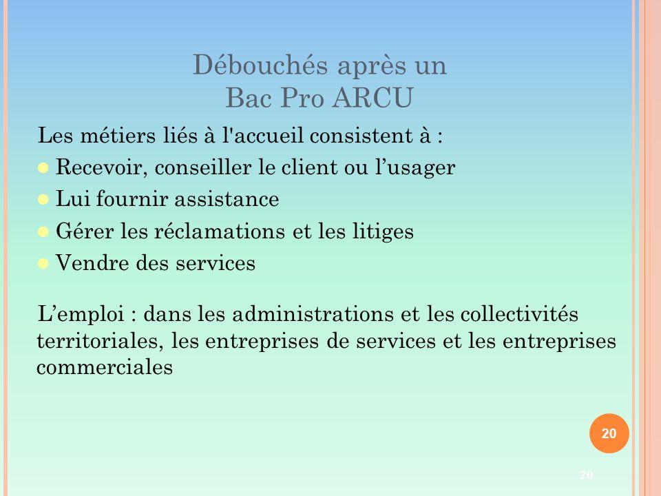 20 Débouchés après un Bac Pro ARCU Les métiers liés à l'accueil consistent à : Recevoir, conseiller le client ou l'usager Lui fournir assistance Gérer