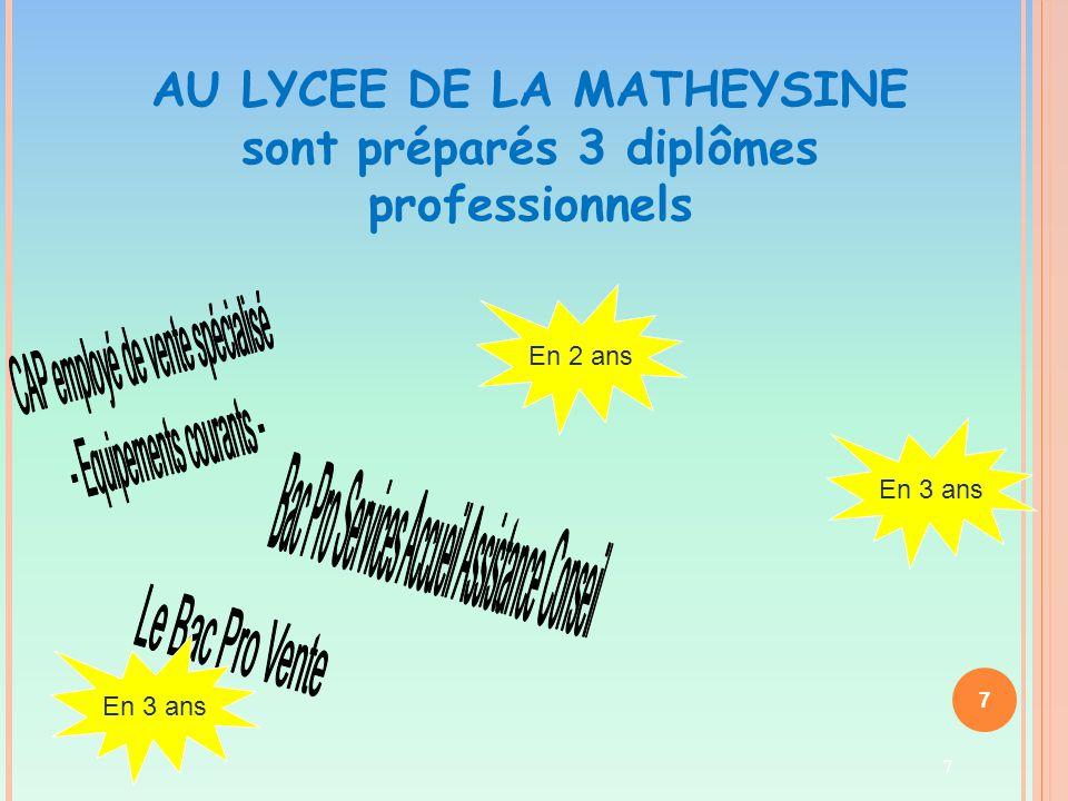 7 AU LYCEE DE LA MATHEYSINE sont préparés 3 diplômes professionnels En 2 ans En 3 ans 7