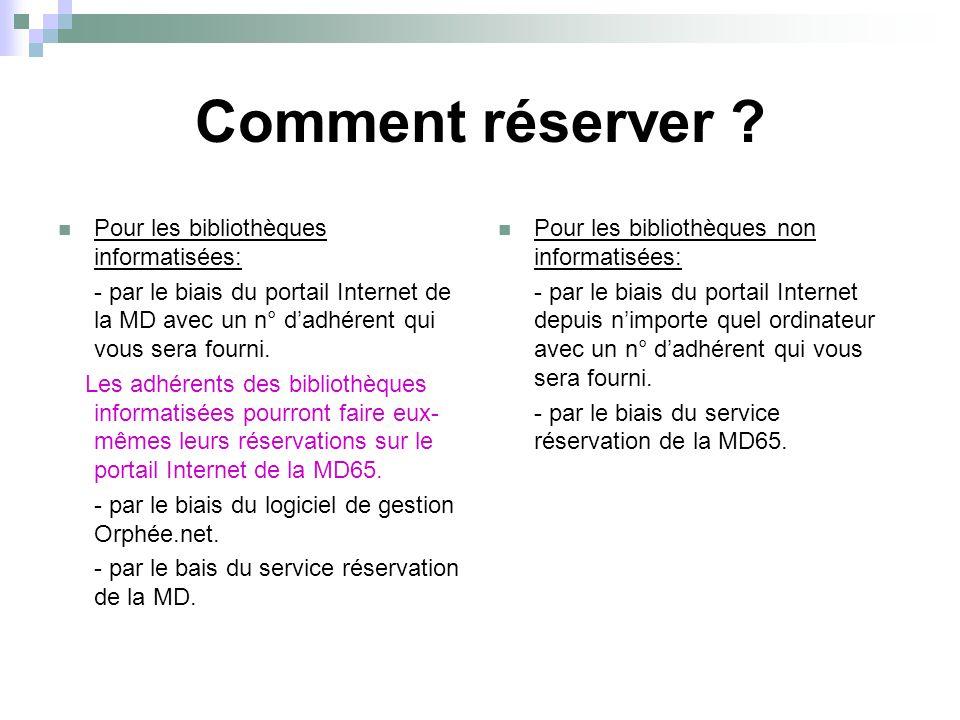 Comment réserver ? Pour les bibliothèques informatisées: - par le biais du portail Internet de la MD avec un n° d'adhérent qui vous sera fourni. Les a