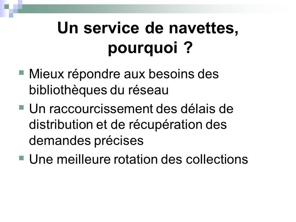 Un service de navettes, pourquoi ?  Mieux répondre aux besoins des bibliothèques du réseau  Un raccourcissement des délais de distribution et de réc