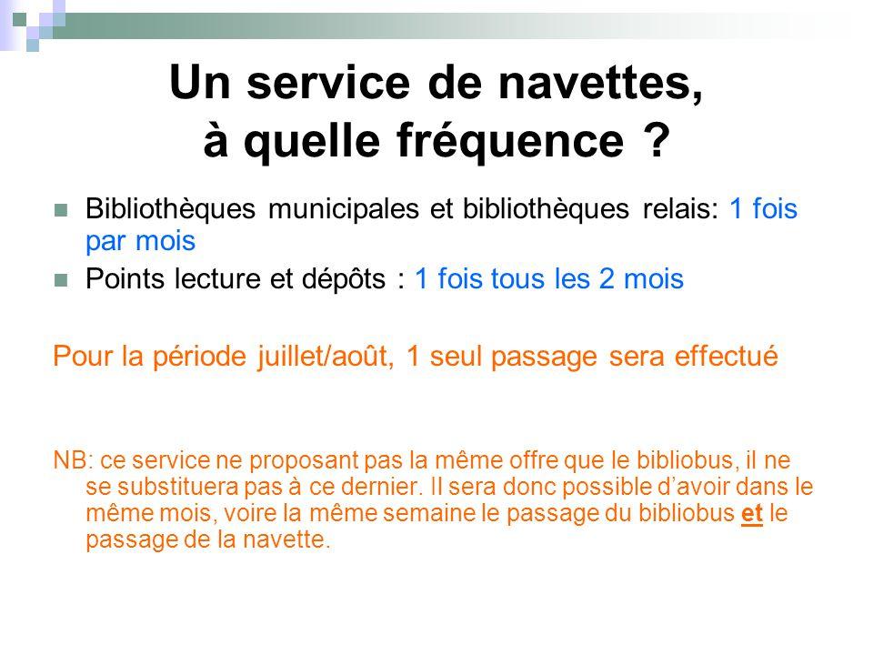 Un service de navettes, à quelle fréquence ? Bibliothèques municipales et bibliothèques relais: 1 fois par mois Points lecture et dépôts : 1 fois tous