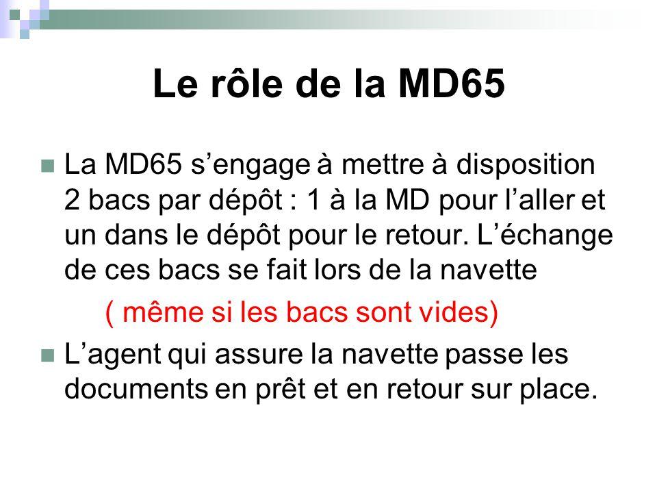 Le rôle de la MD65 La MD65 s'engage à mettre à disposition 2 bacs par dépôt : 1 à la MD pour l'aller et un dans le dépôt pour le retour. L'échange de