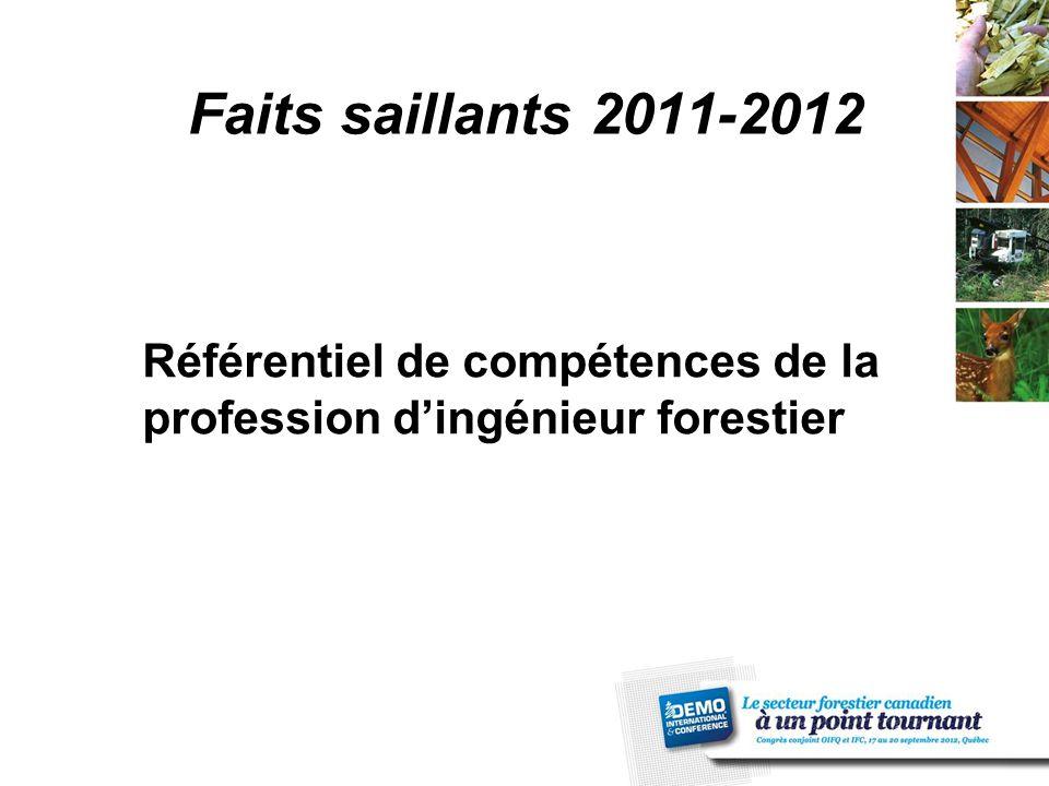 Faits saillants 2011-2012 Référentiel de compétences de la profession d'ingénieur forestier