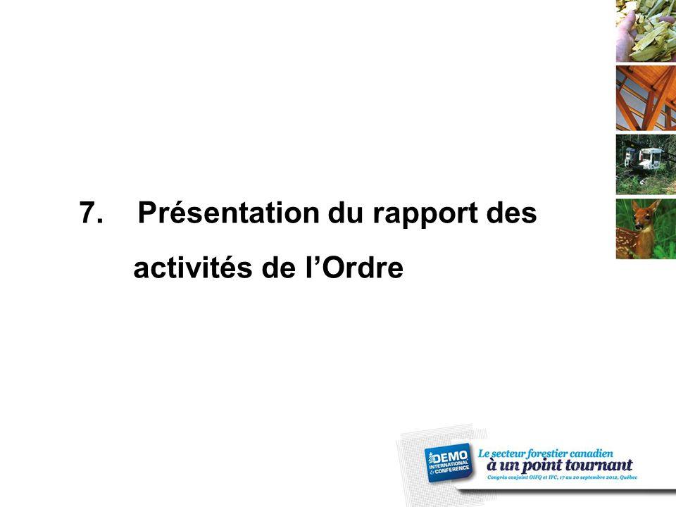 7. Présentation du rapport des activités de l'Ordre