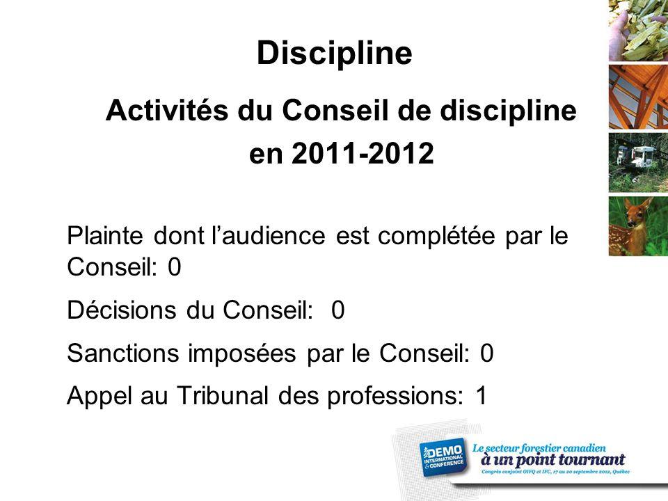Discipline Activités du Conseil de discipline en 2011-2012 Plainte dont l'audience est complétée par le Conseil: 0 Décisions du Conseil: 0 Sanctions imposées par le Conseil: 0 Appel au Tribunal des professions: 1