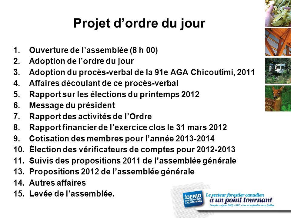 13. Propositions 2012 de l'assemblée générale