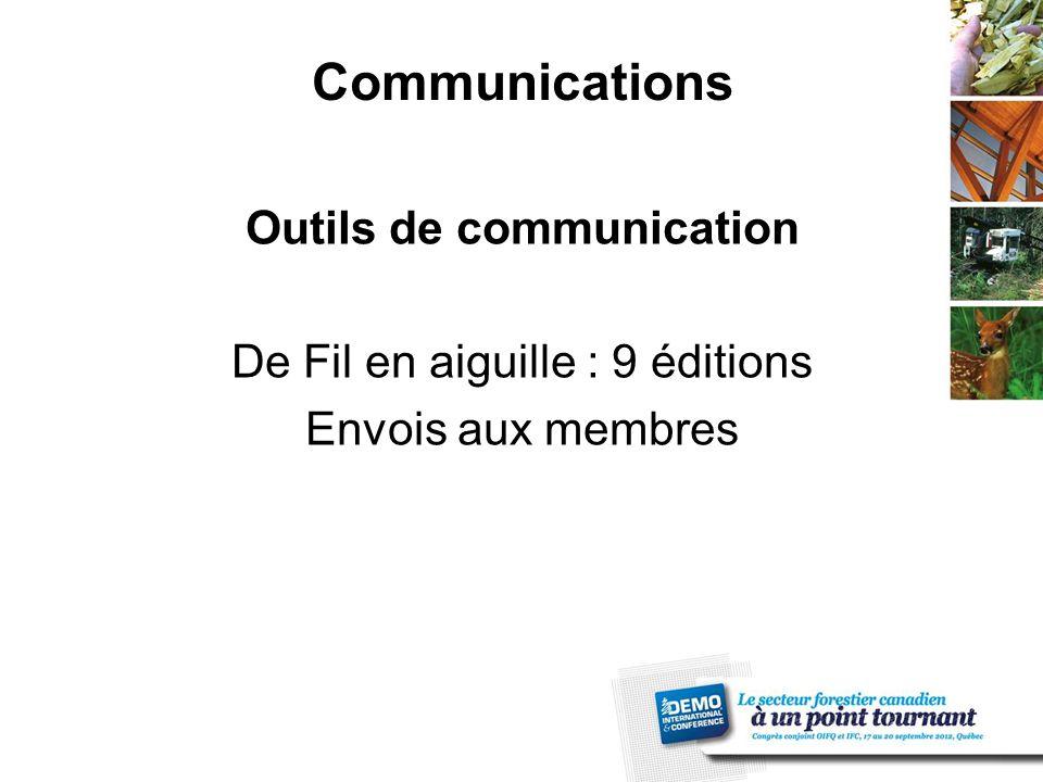 Communications Outils de communication De Fil en aiguille : 9 éditions Envois aux membres