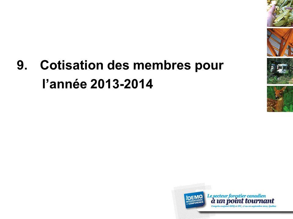 9.Cotisation des membres pour l'année 2013-2014