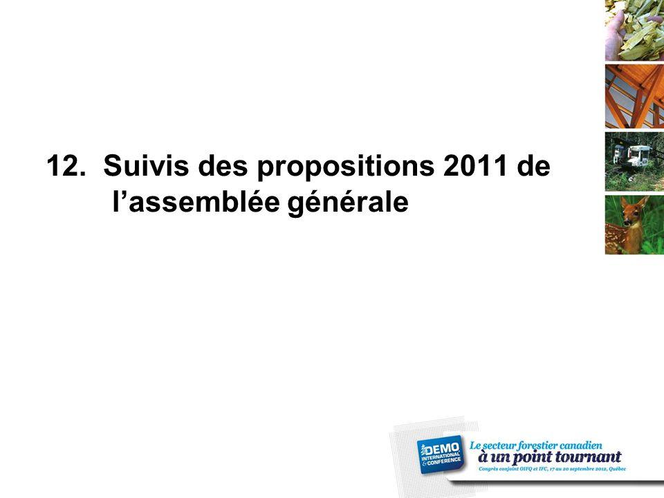 12. Suivis des propositions 2011 de l'assemblée générale