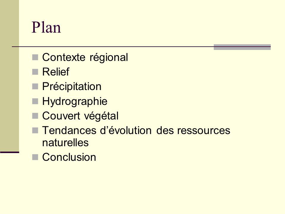 Plan Contexte régional Relief Précipitation Hydrographie Couvert végétal Tendances d'évolution des ressources naturelles Conclusion