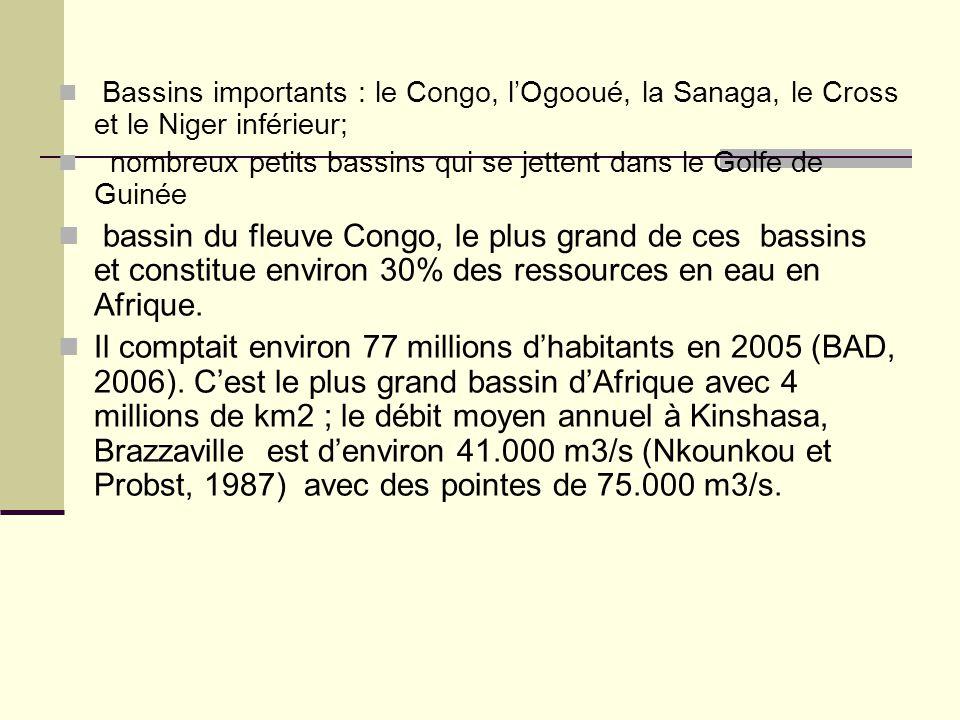 Bassins importants : le Congo, l'Ogooué, la Sanaga, le Cross et le Niger inférieur; nombreux petits bassins qui se jettent dans le Golfe de Guinée bas